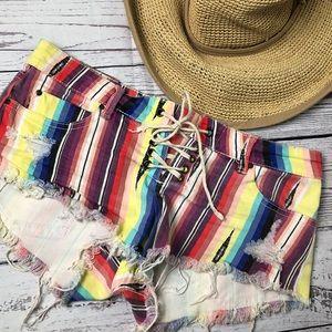 Billabong  striped distress lace up front shorts